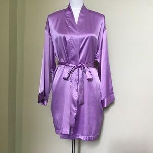VICTORIA'S SECRET lavender satin tie wrap robe OS